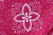 Thai Batik Sarong Of Red Flower Pattern.
