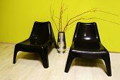 two black plastic chair