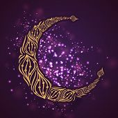 Floral design decorated golden crescent moon on shiny purple background, beautiful greeting card design for holy month of Ramadan Kareem.