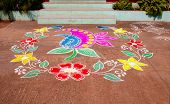 Multicoloured Traditional Rangoli Indian House
