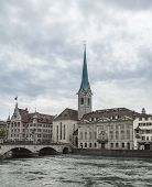 limmat river and fraumunster in zurich, switzerland