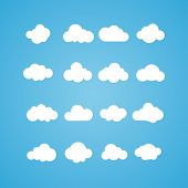 Vector illustration of clouds collection. Concept - computing web and app, weather