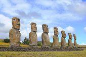Seven moai platform, Eastern Island, Chile