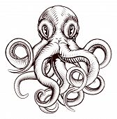 stock photo of monsters  - An original illustration of an octopus in a dynamic woodblock style - JPG