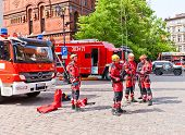 Firemen Training In Torun, Poland