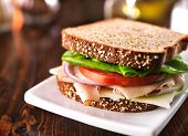 stock photo of sandwich  - cold cut turkey sandwich on whole wheat with swiss cheese - JPG