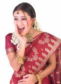 Indian girl in a shouting expression