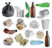 stock photo of discard  - Samples of trash for recycling isolated on white background - JPG