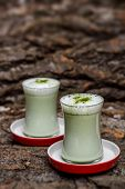 picture of frappe  - Two glass of green tea frappe - JPG