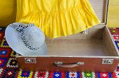 Gray Femalee Hat Suitcase Yellow Dresses Fragment