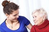 picture of granddaughters  - Portrait of a grandmother and granddaughter horizontal - JPG