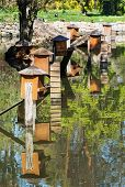 pic of nesting box  - Boxes for waterfowl nesting are mirrored in the water. Natural theme.