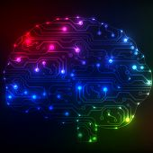 Circuit board computer style brain bitmap technology background