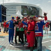 The hockey Latvian fans in surerheroes costumes