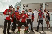 The hockey fans from Russia and Belarus