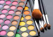 Makeup brushes and shadows