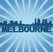 Melbourne skyline reflected with blue sunburst vector illustration