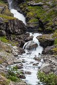 Waterfall Named Stigfossen, Close By The Famous Trollstigen Road