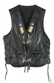 Vintage Leather biker jacket vest custom made isolated on white