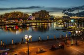 17th may 2014, australia - restaurants illuminated during night at darling harbour