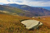 scene with old stone in Carpathian mountains