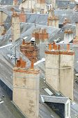 forefront of roofs in the old city of Blois, Loire Valley, France