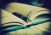 stock photo of poetry  - Diary and fountain pen - JPG