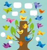 Vector card with birds and speech bubbles and tree