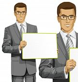 Idea concept. Vector Business man holding empty white board in his hands