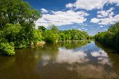 Spring Countryside - River And Blue Sky With Clouds