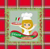 Smiling Waitress Serving Pizza , Menu Card