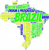Brazil map vector tag cloud