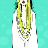 Stylish vector illustration with woman and drapery, acid colors