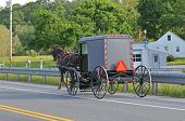 Back View Of Amish Horse And Buggy
