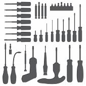 various screwdriver silhouette set