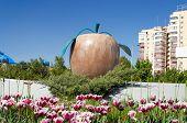 Statue Apple On The Street In Almaty