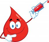 Red Blood Drop Cartoon Character Holding Up A Syringe