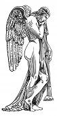 black and white sketch drawing of marble statue angel