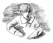 foto of ten years old  - Boy and desk original pencil sketch of ten year old boy sitting by a table - JPG