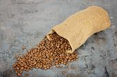 Coffee beans spilled out of the sack