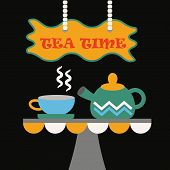 Tea Time - Cute abstract cup of tea and a tea pot
