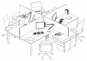 Interior Office Working Place Vector