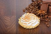 Tartlet with cream and coffee beans