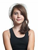 Beautiful young multicultural girl wearing a hat in a studio pose on white background. Teenage girl