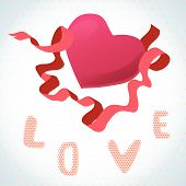 Love and heart. valentine card with a red heart and ribbon on the white background