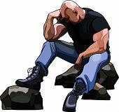 Sad Big Bald Man Sitting On The Rocks.
