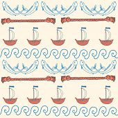 ornament seamless cute sea objects collection.