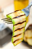 Grilled Zucchini Courgette On A Fork