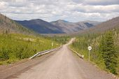 Gravel Road Kolyma To Magadan Highway At Yakutia