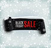 Black Friday sale background with black realistic ribbon banner and snow